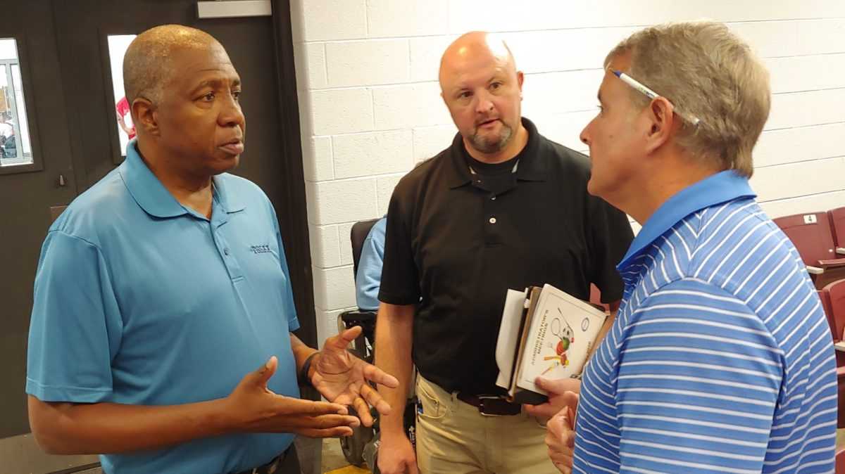 Bernard Childress speaks with administrators at a meeting in Columbia on Sept. 26, 2019.