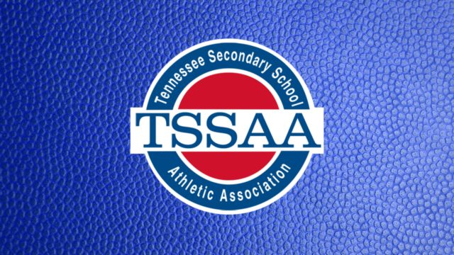 TSSAA Logo on Purple Dimples